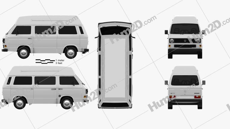 Volkswagen Transporter (T3) Passenger Van High Roof 1980 clipart