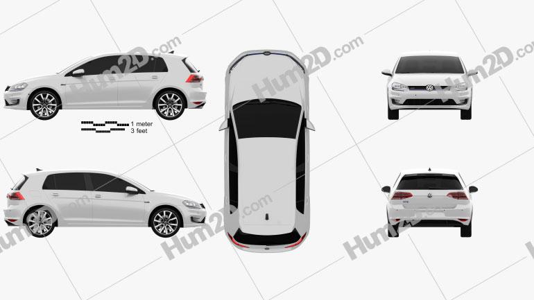 Volkswagen Golf GTE 2015 car clipart