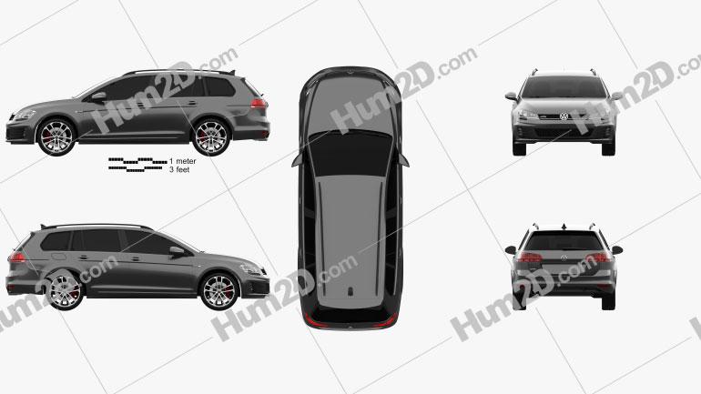 Volkswagen Golf GTD Variant 2015 car clipart