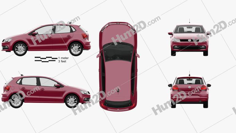 Volkswagen Polo 5-door with HQ interior 2014 car clipart