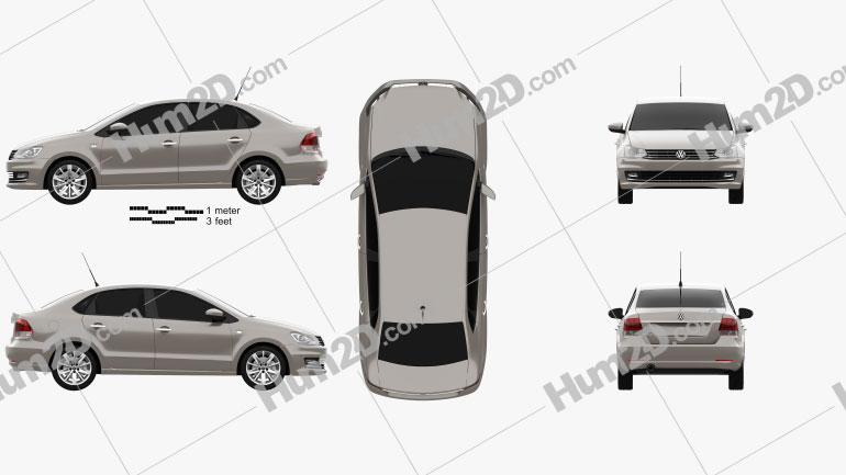 Volkswagen Polo Highline sedan 2015 car clipart