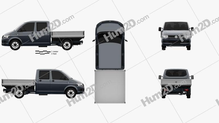 Volkswagen Transporter (T6) Double Cab Pickup 2016 clipart