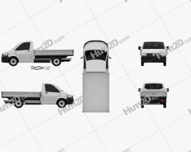Volkswagen Transporter (T6) Single Cab Pickup L2 2016 clipart