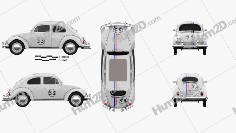 Volkswagen Beetle Herbie the Love Bug 1963 Clipart