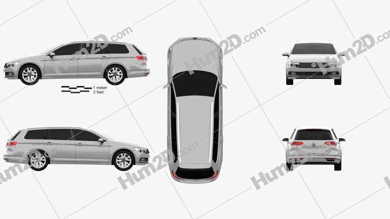 Volkswagen Passat (B8) Variant S 2014 Clipart Image