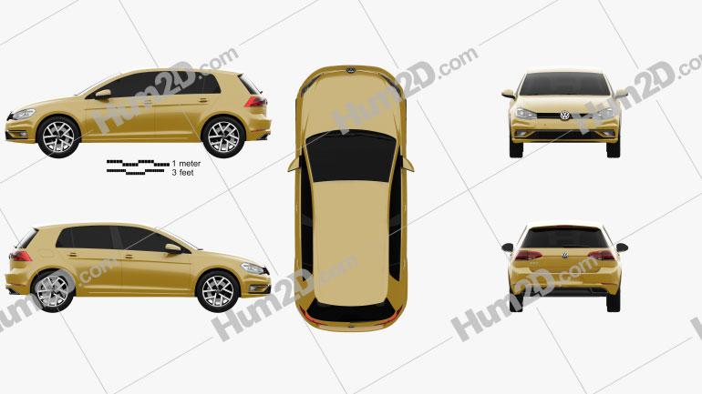 Volkswagen Golf 2017 car clipart