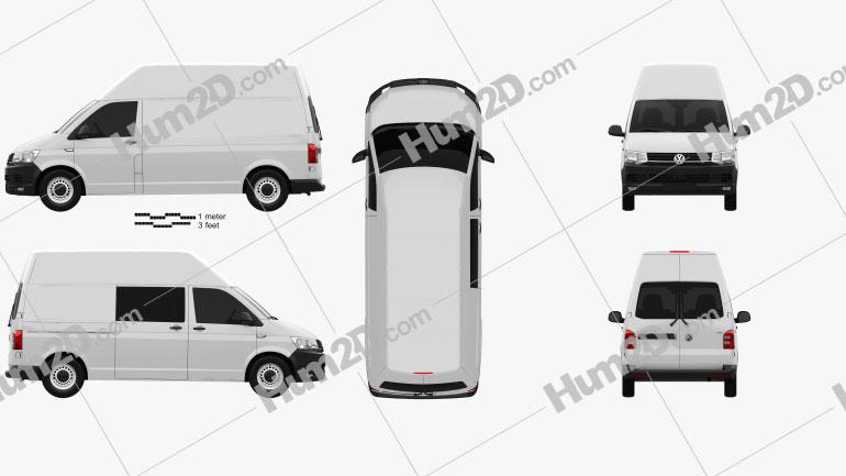Volkswagen Transporter (T6) Panel Van High Roof 2016 clipart