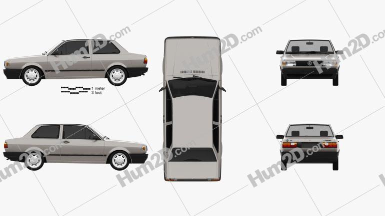 Volkswagen Voyage 2-door 1992 car clipart