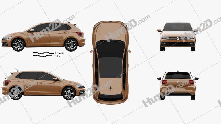 Volkswagen Polo R-Line 5-door 2017 car clipart