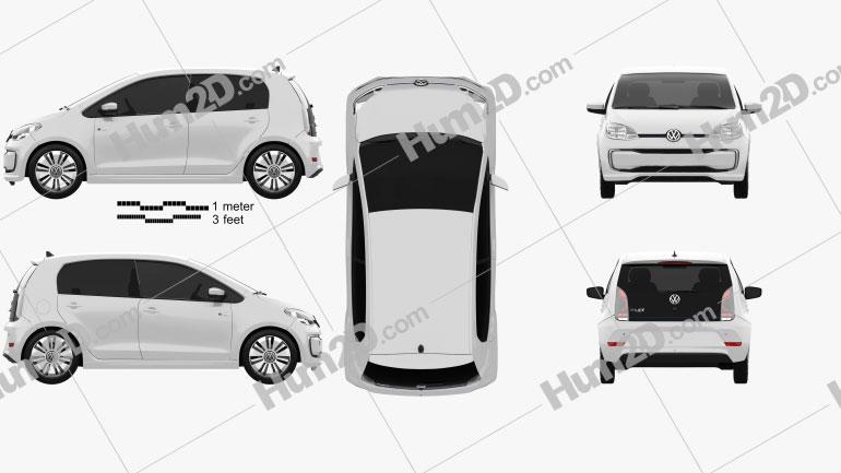 Volkswagen e-Up 5-door 2016 car clipart