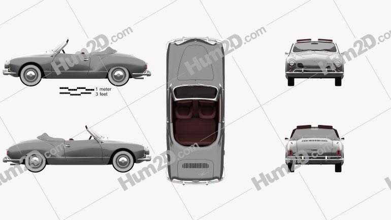 Volkswagen Karmann Ghia convertible 1958 car clipart