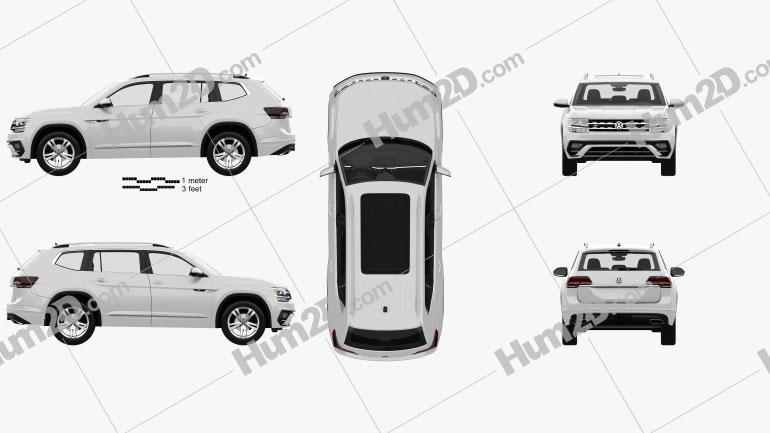 Volkswagen Atlas R Line with HQ interior 2017 car clipart