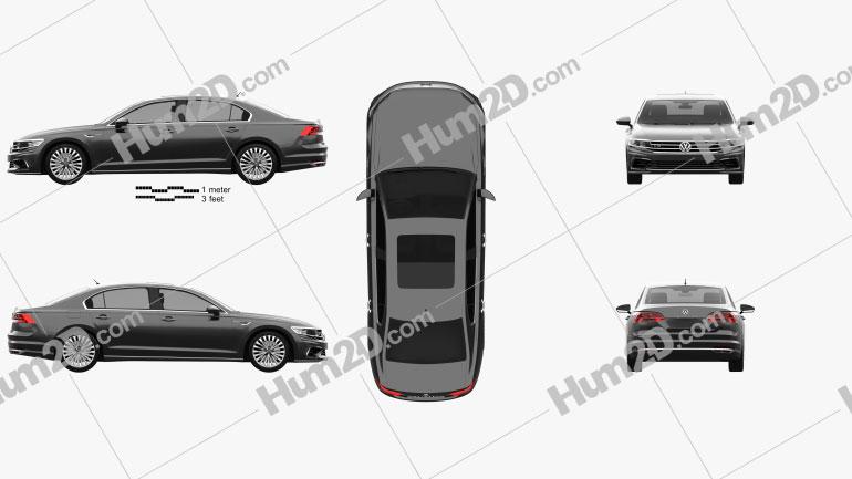 Volkswagen Phideon GTE 2017 Clipart Image