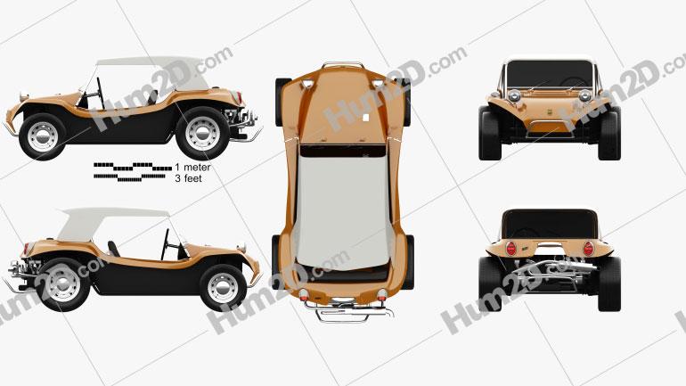 Volkswagen Buggy Meyers Manx 1965 Clipart Image