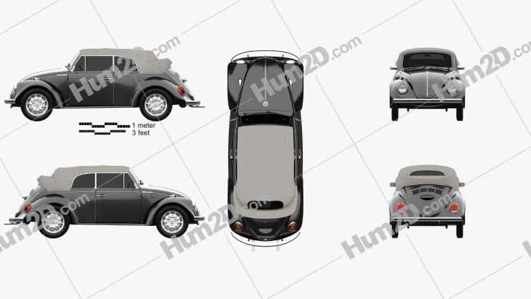 Volkswagen Beetle convertible 1975 Clipart Image