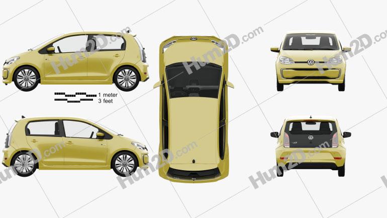 Volkswagen e-Up 5-door with HQ interior 2016 car clipart