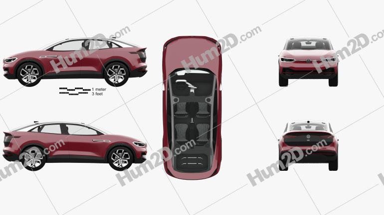 Volkswagen ID Crozz II with HQ interior 2017 car clipart