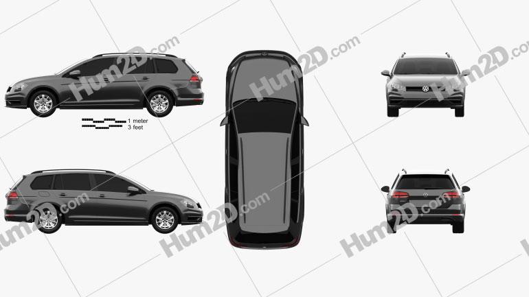 Volkswagen Golf variant Comfortline 2017 car clipart