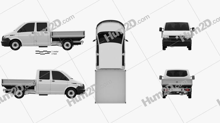 Volkswagen Transporter Double Cab Pickup 2019 Clipart Image