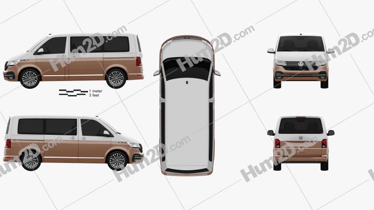 Volkswagen Transporter Multivan Bulli 2019 clipart