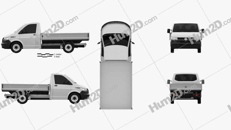 Volkswagen Transporter (T6) Single Cab Pickup L2 2019 Clipart Image