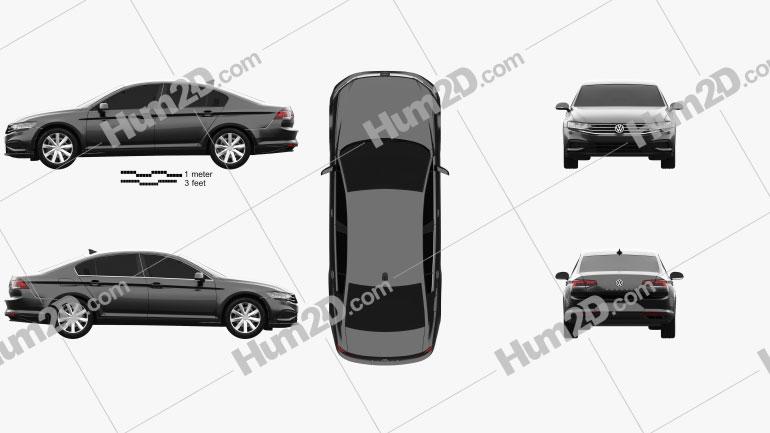 Volkswagen Passat sedan 2019 Clipart Image