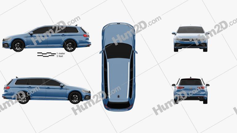 Volkswagen Passat (B8) variant 2015 car clipart
