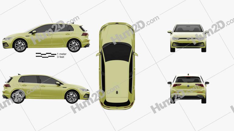 Volkswagen Golf Style 5-door hatchback 2020 car clipart