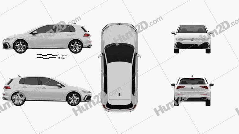 Volkswagen Golf GTE 5-door hatchback 2020 Clipart Image