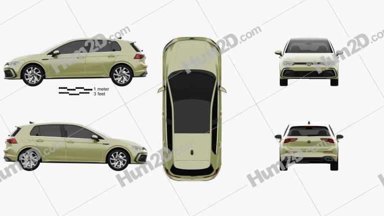 Volkswagen Golf R-Line 5-door hatchback 2020 car clipart