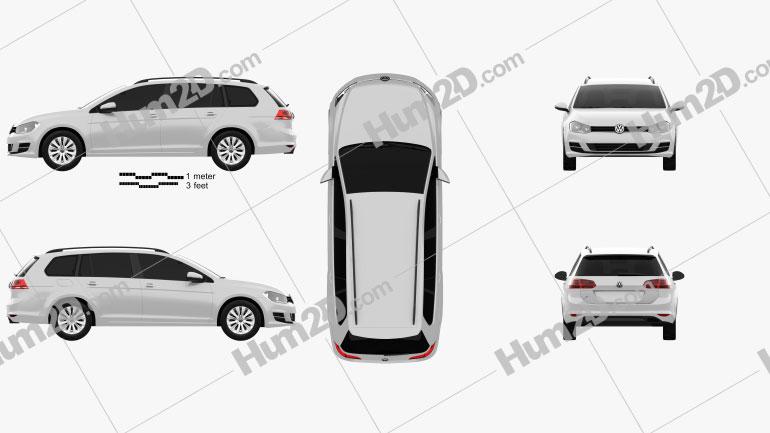 Volkswagen Golf variant Trendline 2015 Clipart Image