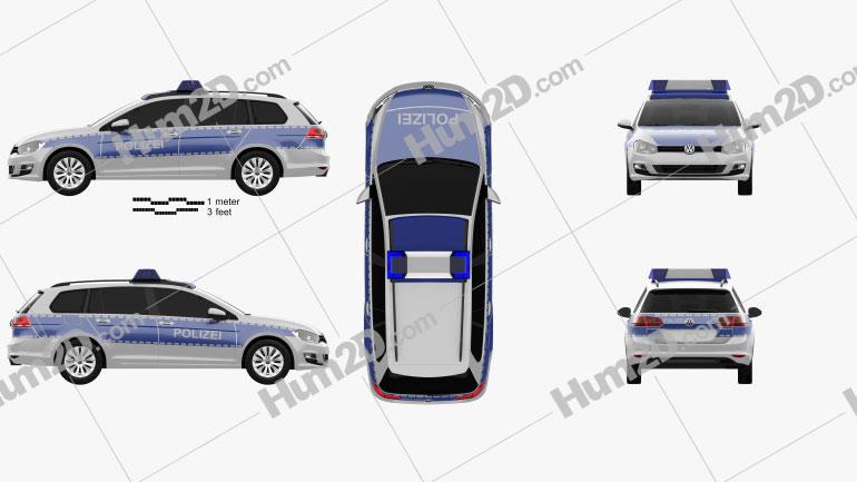 Volkswagen Golf variant Polizei Germany 2015 car clipart