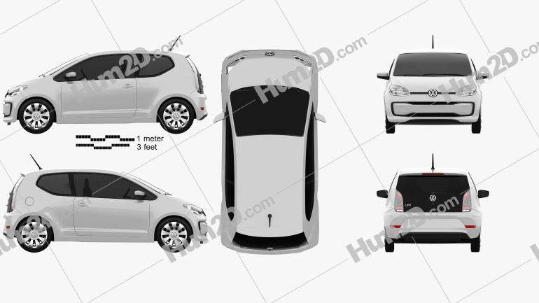 Volkswagen Up 3-door 2016 Clipart Image