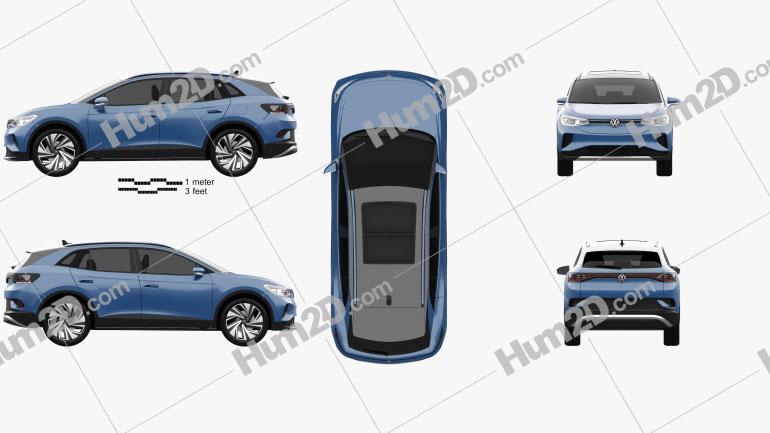 Volkswagen ID.4 2020 car clipart