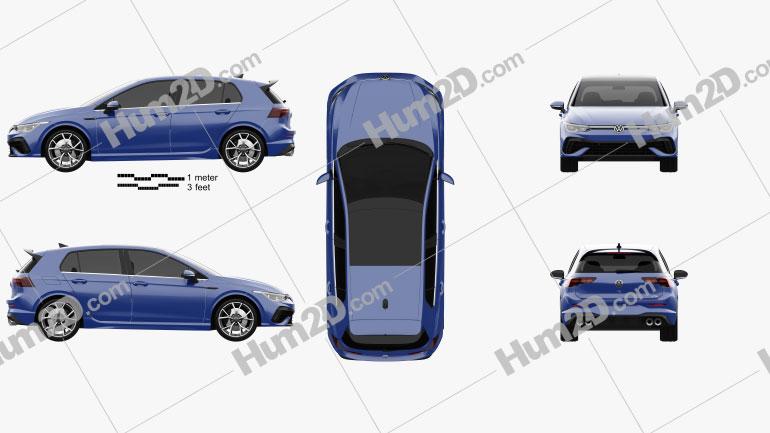 Volkswagen Golf R-Line 5-door hatchback 2022 Clipart Image