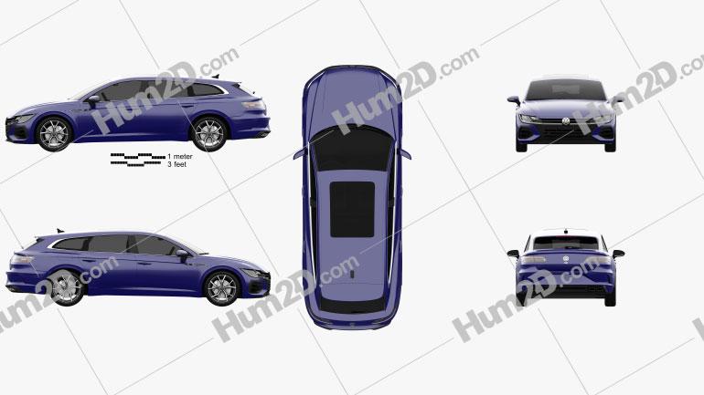 Volkswagen Arteon Shooting Brake R 2020 car clipart
