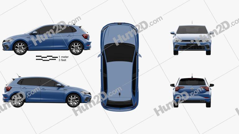 Volkswagen Polo R-Line 2021 Clipart Image