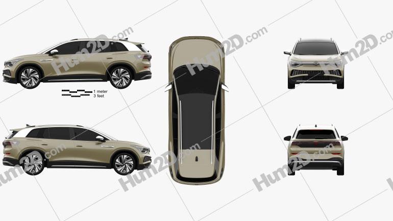 Volkswagen ID.6 X Prime 2021 car clipart