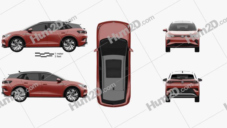 Volkswagen ID.4 GTX 2022 car clipart