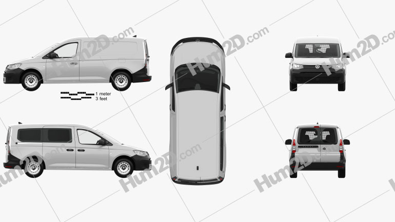 Volkswagen Caddy Maxi Panel Van with HQ interior 2020 Clipart Image