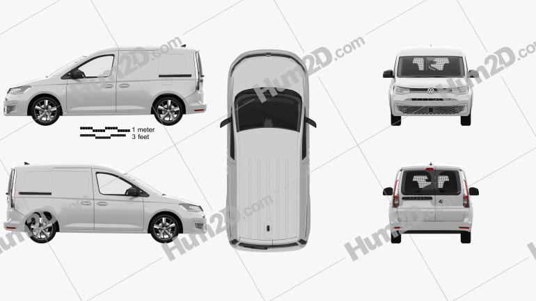 Volkswagen Caddy Panel Van with HQ interior 2020 clipart