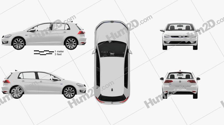 Volkswagen Golf GTE hatchback 5-door with HQ interior 2015 car clipart