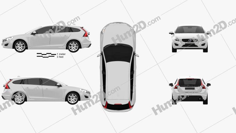 Volvo V60 2011 car clipart