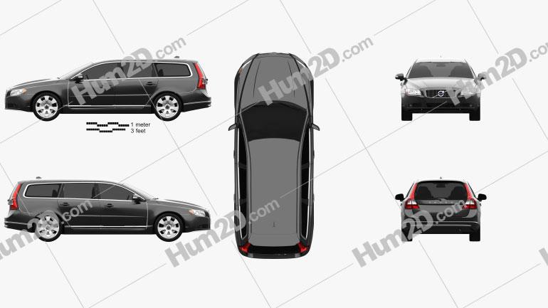 Volvo V70 2011 car clipart