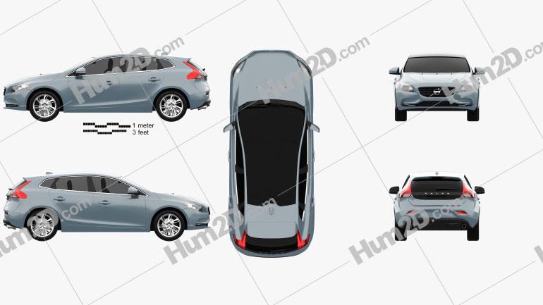 Volvo V40 2013 Clipart Image