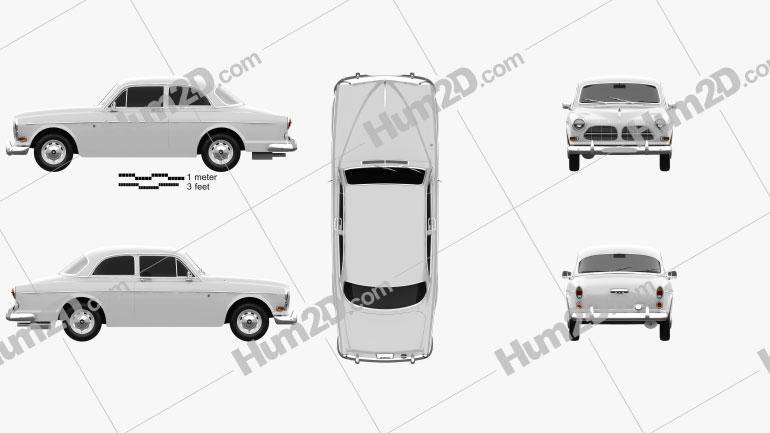 Volvo Amazon coupe 1961 car clipart