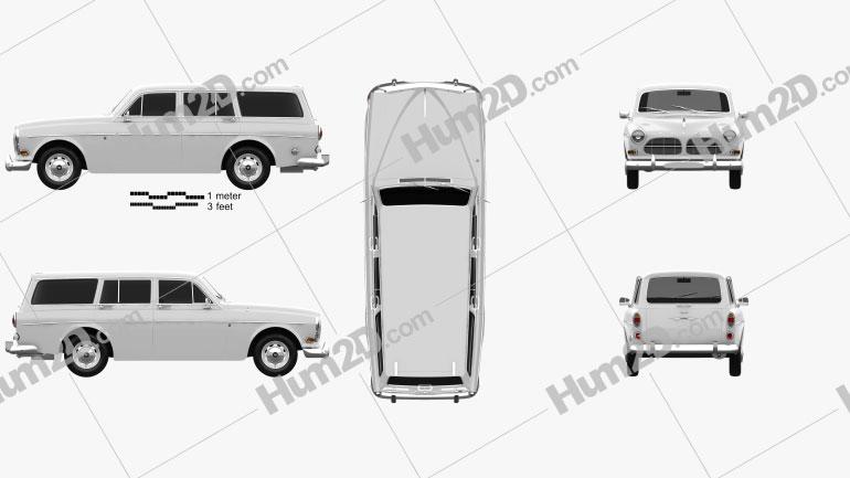 Volvo Amazon wagon 1961 car clipart