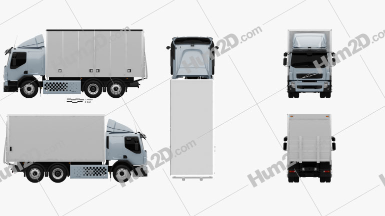 Volvo FE Hybrid Box Truck 2011 Clipart Image