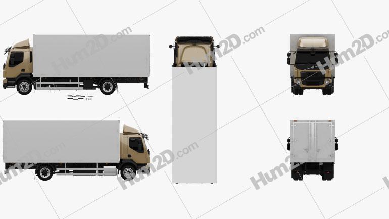 Volvo FL Box Truck 2013 Clipart Image