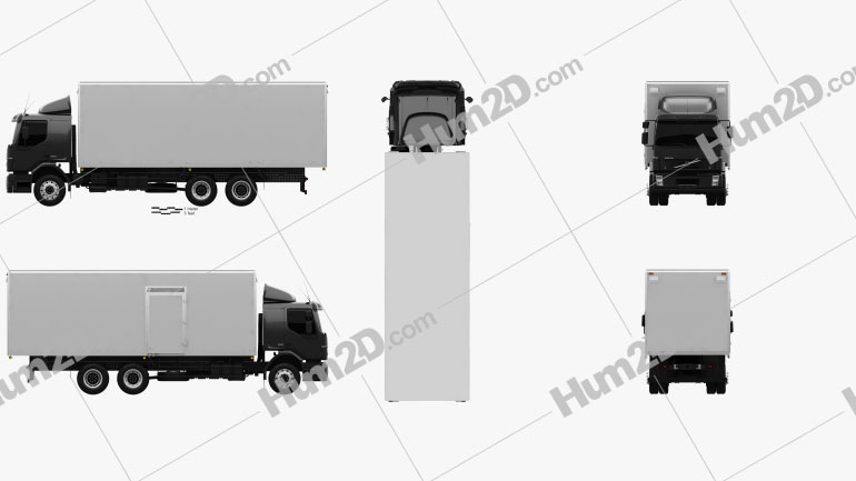 Volvo VM Box Truck 2003 Clipart Image